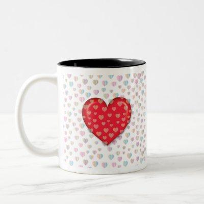 red heart with speckels pattern Two-Tone coffee mug