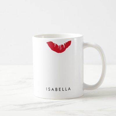 Red Lip Print Personalized Coffee Mug