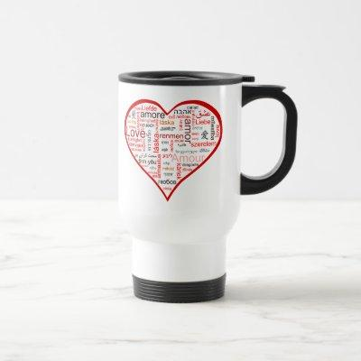 Red Love Heart Typography Travel Mug