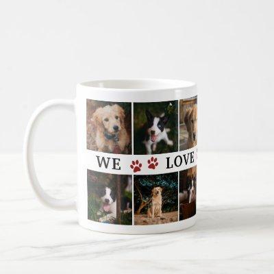 Red Paws We Love You Dad Photo Collage Coffee Mug