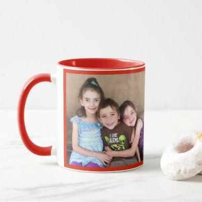 Red Personalize PHOTO TEMPLATE Gift Coffee Mug
