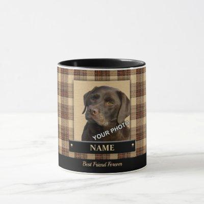 Red Pet Picture classic country style plaid Mug