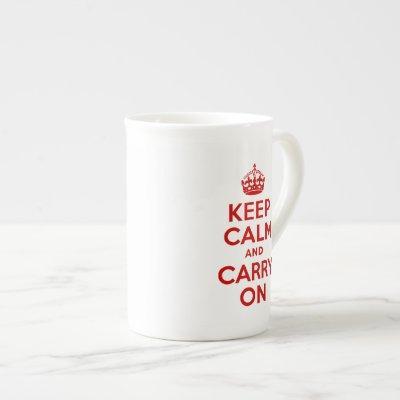 Red Text Keep Calm and Carry On Bone China Mug