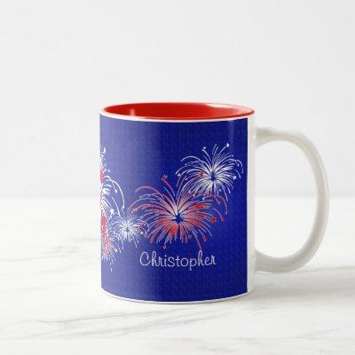 Red, White and Blue 4th of July Fireworks Two-Tone Coffee Mug