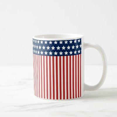 Red White and Blue American Flag Pattern Coffee Mug