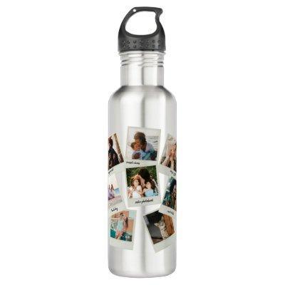 Refrigerator Snapshots Photo Collage Stainless Steel Water Bottle