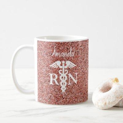 Registered Nurse Caduceus Rose Gold Glitter Custom Coffee Mug