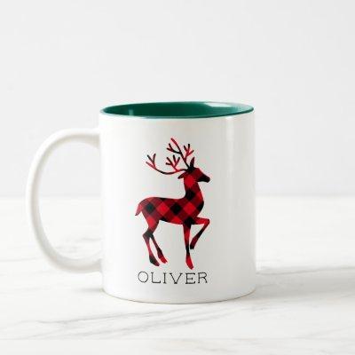 Reindeer Red Buffalo Plaid Personalized Christmas Two-Tone Coffee Mug