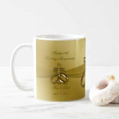 Religious Golden 50th Anniversary Coffee Mug