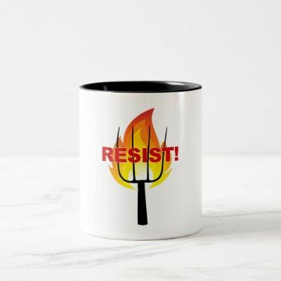 Resistance Torch and Pitchfork Two-Tone Coffee Mug