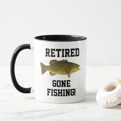 Retired Gone Fishing Smallmouth Bass Sports Mug