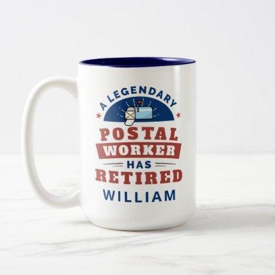 Retired Postal Worker Mailman Retirement Funny Two-Tone Coffee Mug
