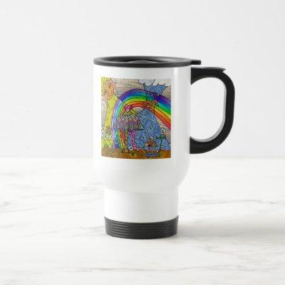 Retro 60s Psychedelic Magic Mushrooms Travel Mug