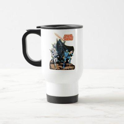 Retro Comic Darth Vader Star Wars Illustration Travel Mug