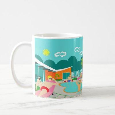 Retro Gay Pool Party Poster Mug