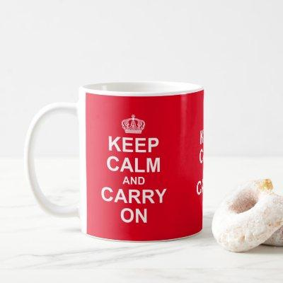 "Retro ""Keep Calm And Carry On"" Message, Coffee Mug"