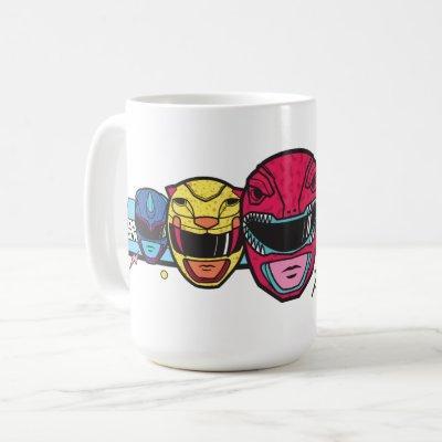Retro Power Rangers Helmet Lineup Graphic Coffee Mug