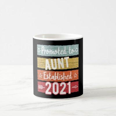 Retro Promoted to Aunt Est. 2021 Baby Announcement Coffee Mug