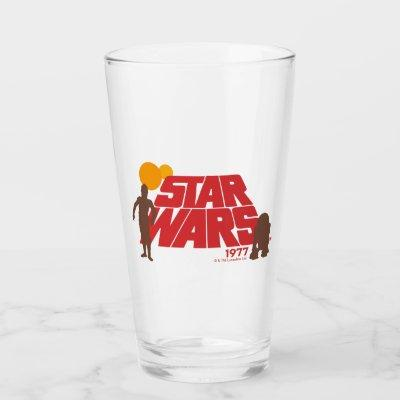 Retro Star Wars 1977 C-3PO & R2-D2 Logo Glass