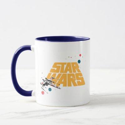 Retro X-Wing In Space Star Wars Logo Mug