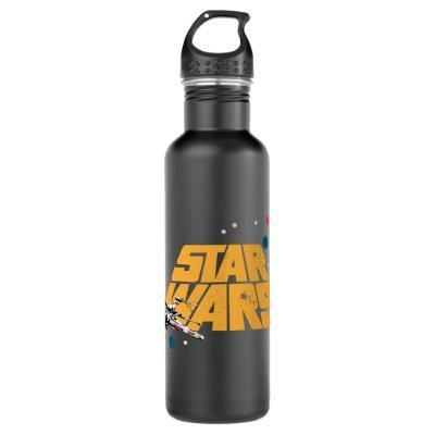 Retro X-Wing In Space Star Wars Logo Stainless Steel Water Bottle
