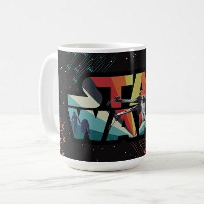 Retro X-Wing Starburst Star Wars Logo Coffee Mug