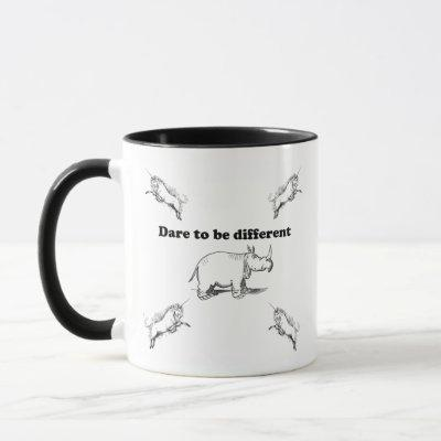 Rhino Among Unicorns Dare to be Different Cartoon Mug