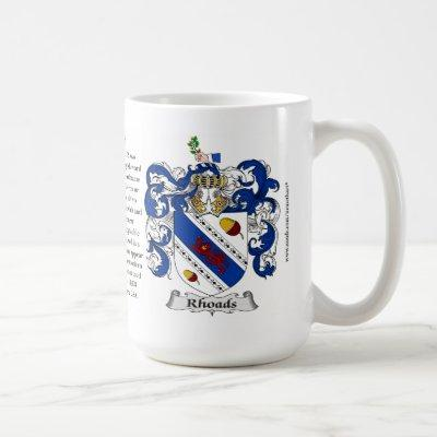 Rhoads, the Origin, the Meaning and the Crest Coffee Mug