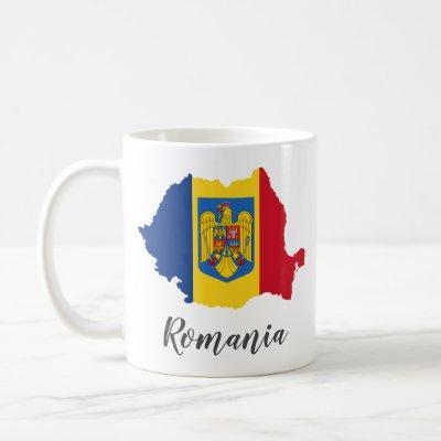 Romania Flag Map Coffee Mug