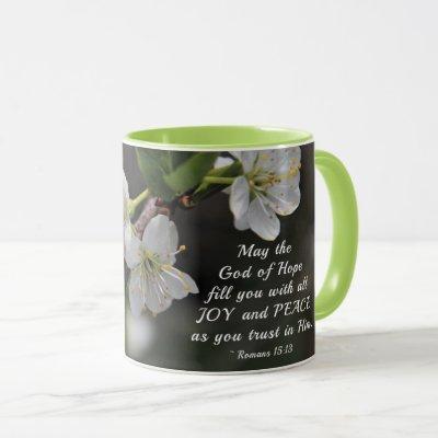 Romans 15:13 God of Hope White Flowers Mug