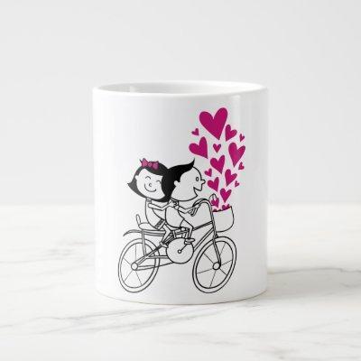 Romantic couple on bike with lot of heart giant coffee mug