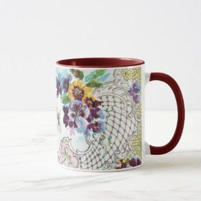 ROMANTICA Pink Blue White Wedding Floral Mug