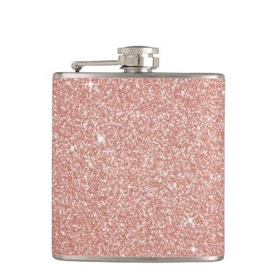 Rose Gold -Blush Pink Glitter and Sparkle Flask