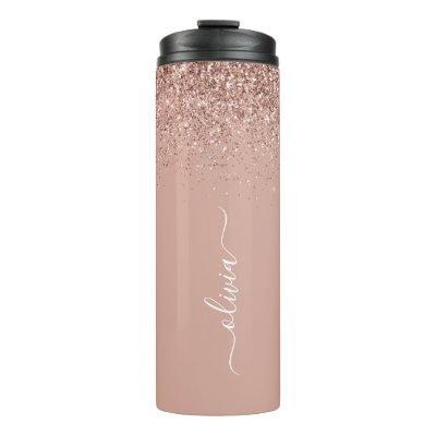 Rose Gold Blush Pink Glitter Girly Monogram Name Thermal Tumbler