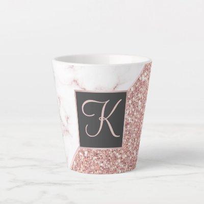 Rose Gold Faux Glitter Rose Marble Monogrammed Latte Mug