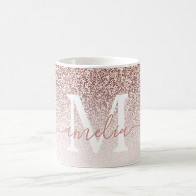 Rose Gold Faux glitter textured ombre pink Coffee Mug