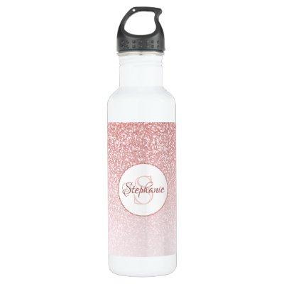 Rose Gold Glitter Blush Monogram Personalized Stainless Steel Water Bottle