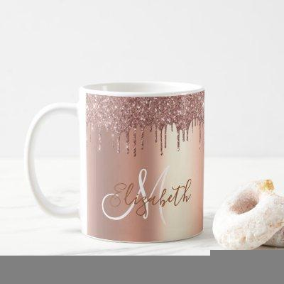 Rose Gold Glitter Drips Metal Monogram Coffee Mug