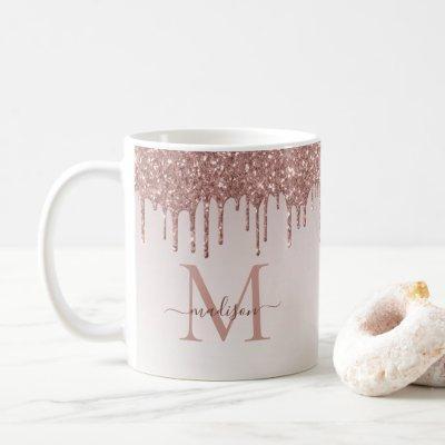 Rose Gold Glitter Drips Sparkle Monogram Script Coffee Mug