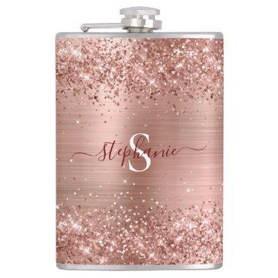 Rose Gold Glitter Girly Glam Monogram Flask