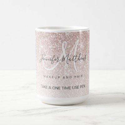 Rose Gold Glitter Hair Salon Safety Pen Holder Coffee Mug