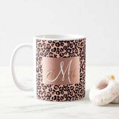 Rose Gold Glitter Leopard Monogram Fun Coffee Mug