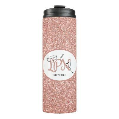 Rose Gold Glitter LPN nurse Thermal Tumbler