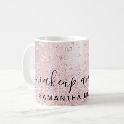 rose gold glitter metallic sparkle confetti name coffee mug