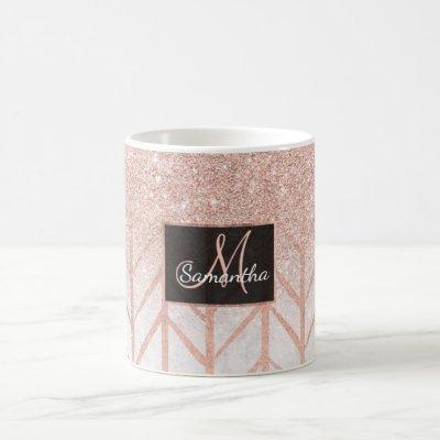 Rose gold glitter ombre herringbone chevron marble coffee mug
