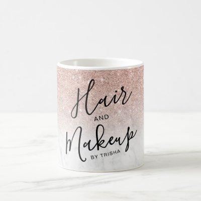 rose gold glitter ombre marble hair makeup coffee mug