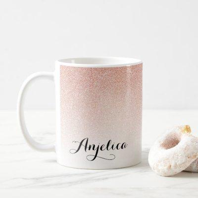 Rose Gold Ombre Faux Glitter Name Pink Coffee Mug