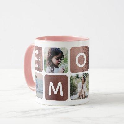 Rose Gold Photo Collage Mom Instagram Mother's Day Mug