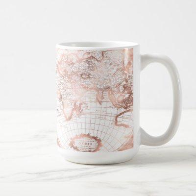 Rose Gold Pink Metal Glitter Antique World Map Coffee Mug