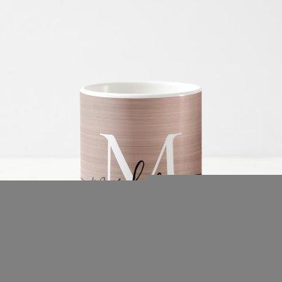 Rose Gold Pink Metallic Monogram Girly Script Name Coffee Mug